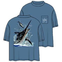 Guy Harvey Men's Marlin Toss Short Sleeve Tee Denim 2xl, Men's Boating Graphic Short-Sleeve Tees