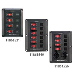 West Marine Dc Electrical Panels 4 Circuit   2 12v Power Outlets 6 1/2''l X 1/2''w (5 1/4''l 3 1/4''w Cutout), Distribution Panels for Boats & Yachts