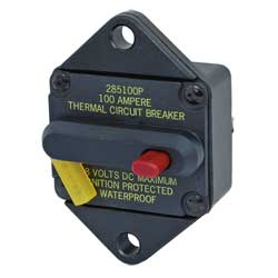 Blue Sea Systems 285 Series Thermal Circuit Breakers Panel Mount Breaker 50a, Circuit Protection for Boats & Yachts