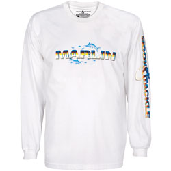 Hook & Tackle Men's Marlin Skinz Long Sleeve Tech Tee White 2xl, Men's Boating Graphic Performance Long-Sleeve Tees