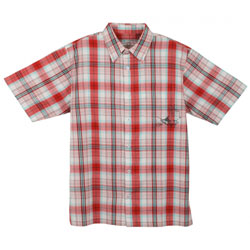 Guy Harvey Men's Plaid Button Short Sleeve Shirt Red, Men's Boating Woven Casual Long-Sleeve Shirts