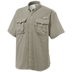 Columbia Men's Bahama Ii Short Sleeve Shirt Fossil, Men's Boating Woven Technical Short-Sleeve Shirts