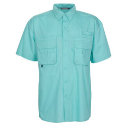 West Marine Men's Big Catch Short Sleeve Fishing Shirt Sea Stream, Men's Boating Woven Technical Short-Sleeve Shirts