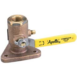Apollo Valves Full Port Flanged Bronze Seacocks 1'' Pipe Size, Valves, Inlets & Strainers for Boats & Yachts