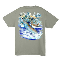 Guy Harvey Men's Marlin And Boat 2 Tee White 2xl, Men's Boating Graphic Short-Sleeve Tees