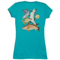 Guy Harvey Young Women's Inshore Collage Short Sleeve Tee Turquoise, Women's Boating Graphic Short-Sleeve Tees