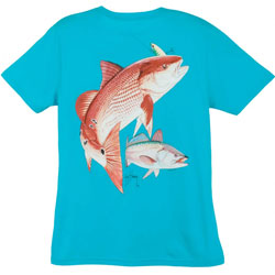 Guy Harvey Women's Redfish Seatrout Short Sleeve Tee Caribbean Xl, Women's Boating Graphic Short-Sleeve Tees