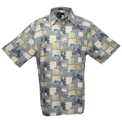 Weekender Men's Palm Patch Shirt Ice Blue, Men's Boating Woven Casual Long-Sleeve Shirts