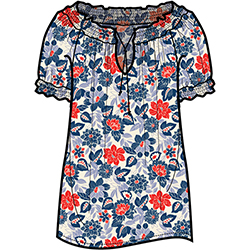 Tommy Bahama Women's Button Dahlias Top Ocean Deep 2, Women's Boating Knit Short-Sleeve Shirts