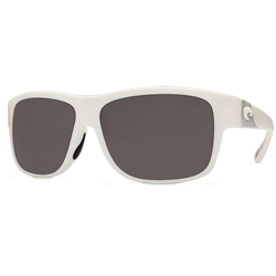 Caye Sunglasses White Frames With Costa 580 Gray Plastic Lenses, Stylish Boating Sunglasses over $90