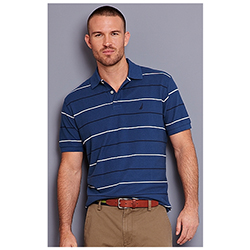 Nautica Men's Striped Deck Shirt Oatmeal/heather 2xl, Men's Boating Polo Shirts
