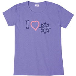 West Marine Women's I Heart Wheel Short Sleeve Tee Violet Xl, Women's Boating Graphic Short-Sleeve Tees