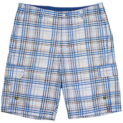 Tommy Bahama Men's Poconos Plaid 11'' Hybrid Swim Trunks Black/grey 30, Men's Boating Board Shorts