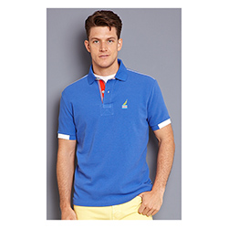 Nautica Men's Slim Fit Sun Drenched Polo French Blue Xl, Men's Boating Polo Shirts