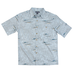 West Marine Men's Fish Graphic Woven Shirt Ice Blue, Men's Boating Woven Casual Long-Sleeve Shirts