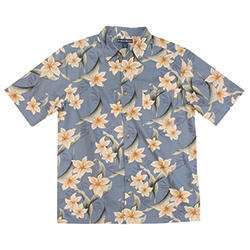West Marine Men's Floral Palm Graphic Woven Shirt Bluestone, Men's Boating Woven Casual Long-Sleeve Shirts