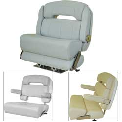 Taco Capri Premium Helm Chair 36'' Seat With Slide Ivory, Boat Helm & Fishing Seats