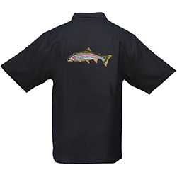Hook & Tackle Men's Rainbow Trout Woven Shirt Ivory L, Men's Boating Woven Casual Long-Sleeve Shirts