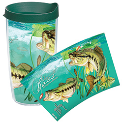 Tervis Guy Harvey Large Mouth Bass Wrap Tumbler With Lid, Boat Drink Holders