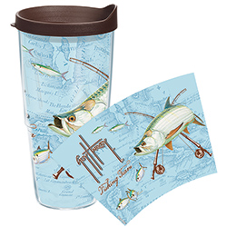 Tervis Guy Harvey Tarpon 24 Oz Wrap Tumbler With Lid, Boat Drink Holders