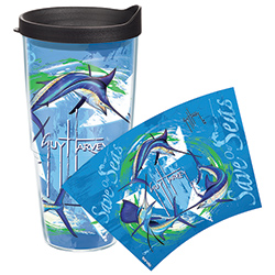 Tervis Guy Harvey Save Our Seas Recycle 24 Oz Wrap Tumbler With Lid, Boat Drink Holders