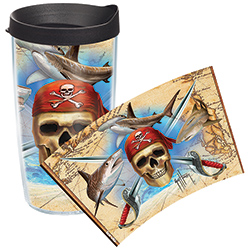 Tervis Guy Harvey Pirate Wrap Tumbler With Lid, Boat Drink Holders