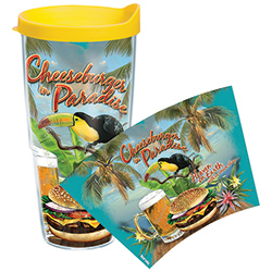 Tervis Cheeseburger In Paradise 24 Oz Wrap Tumbler With Lid, Boat Drink Holders