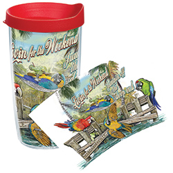 Tervis Livin' For The Weekend Wrap Tumbler With Lid, Boat Drink Holders