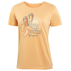 Life IS Good Women's Fun In The Sun Creamy Tee Tangerine, Women's Boating Graphic Short-Sleeve Tees