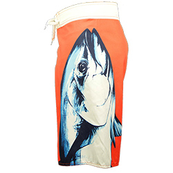 Bluefin Men's Standup Tuna Board Shorts Coral/white 30, Men's Boating Board Shorts