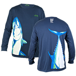 Bluefin Men's Stand Up Tuna Blend Long Sleeve Tee Navy, Men's Boating Graphic Performance Long-Sleeve Tees