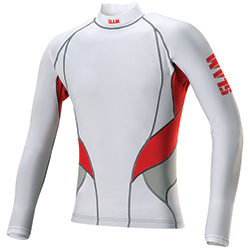 Slam Men's Long Sleeve Rash Guard White/red Xl, Men's Boating Inshore FWG Tops