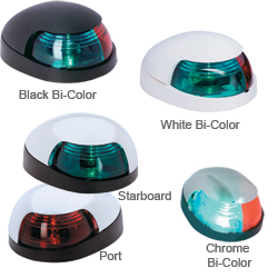 Attwood Quasar Bi Color Deck Mount Lights Chrome Port (red), Navigation Lights for Boats & Yachts