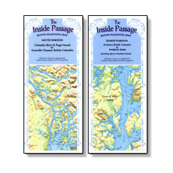 Fine Edge Inside Passage Route Planning Maps South Portion Columbia River & Puget Sound To Grenville Channel British, Pre-Printed US Charts for Boats & Yachts