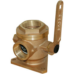 Groco Bronze Full Flow Safety Seacocks 1 1/2'' Inlet (nps) Discharge (npt) 1/4'' Side, Valves, Inlets & Strainers for Boats & Yachts