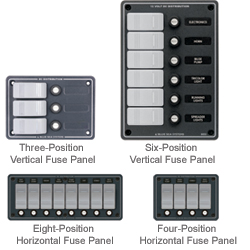 Blue Sea Systems Water Resistant Dc Fuse Panels 6 Position Vertical Panel 7 5''h X 5 25''w, Distribution Panels for Boats & Yachts