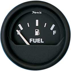 Faria Instruments Euro Series Fuel Level 2'' E 1/2 f, Instrumentation for Boats & Yachts