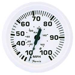 Faria Instruments Speedometer Dress White 55 Mph, Instrumentation for Boats & Yachts