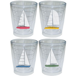 Galleyware Newport Tumbler Four Packs Sailboat Motif 12oz, Boat Tableware