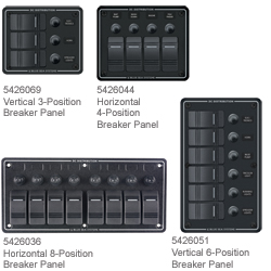 Blue Sea Systems Water Resistant Dc Circuit Breaker Panels 3 Position Vertical Panel 3 75'' X 4 5'', Distribution Panels for Boats & Yachts