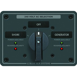 Blue Sea Systems Ac Source Selection Rotary Switch Panels 65 Ampere 2 Positions   Off 4 Pole, Distribution Panels for Boats & Yachts