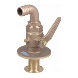 Perko Seacocks With 90 Hose Adapter Seacock 2'' Size Pipe 5 3/4'' Flange Dia 10 3/8'' Height, Metal Plumbing Fittings for Boats & Yachts