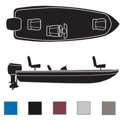 Attwood V Hull Fishing Boats With Single Consoles Outboard Boaters Best Polyester Covers 16'6''l 82''beam Width Blue, Sturdy Boat Covers