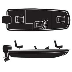 Attwood Bomber Style Bass Boats Outboard Road Ready Cotton Covers 15'6''l 66'' Beam Width Gray, Sturdy Boat Covers