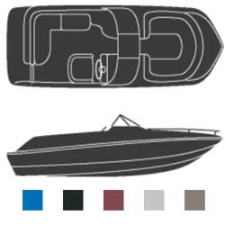 Attwood Polyester Deck Boat Covers With Walk Through Windshield 102'' Beam Width 23'6'' Center Length Burgundy, Sturdy Boat Covers
