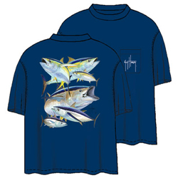 Guy Harvey Men's Tuna Collage Short Sleeve Tee Collage Navy 2xl, Men's Boating Graphic Short-Sleeve Tees
