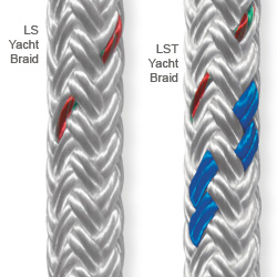 Samson Rope Ls & Lst Yacht Braid 3/8'' Polyester Braid 3 700lb Breaking Strength White With Blue Tracer, Polyester Lines for Boats & Yachts