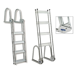 Garelick Anodized Aluminum Flip Up Dock Ladder Folding Dock/raft 5 Stp, Dock Boarding Ladders for Boats & Yachts