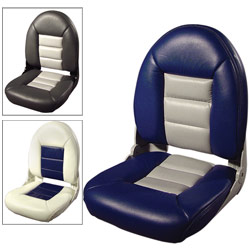 Tempress Navistyle Folding Seat High Back White/blue Gray/blue, Boat Helm & Fishing Seats