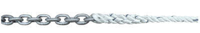 Example of a rope-to-chain anchor splice